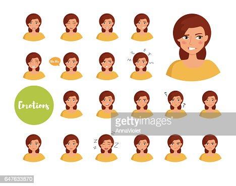 Mujer con diferentes emociones : Arte vectorial