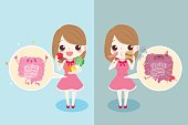 cute cartoon woman with intestine health concept