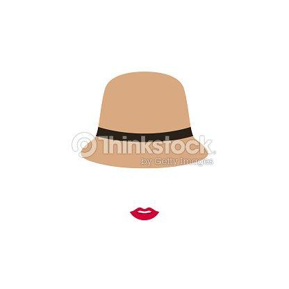 Mujer con labios rojos en sombrero retro. Vector emblema diseño la  plantilla con la silueta cf4b145c721