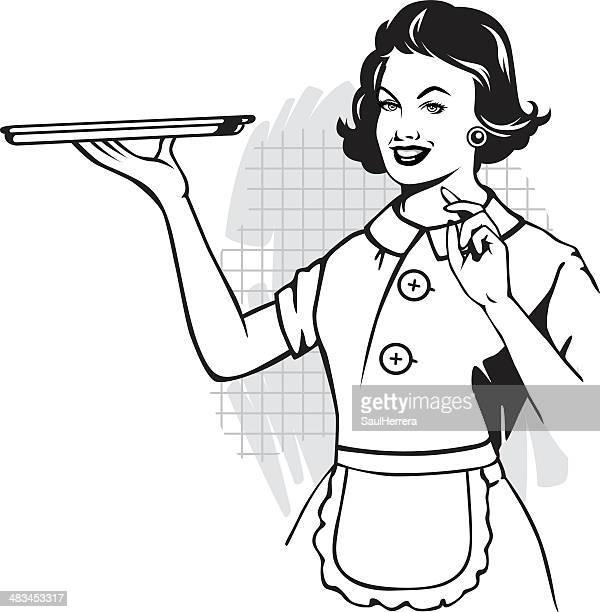 Femme avec plateau