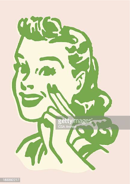 Woman with Two Fingers Held to Her Cheek