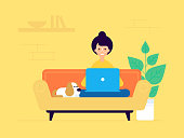 woman freelancer vector flat design character. Woman seating on the sofa with the laptop and the little funny dog. Modern working space. Modern flat design style.