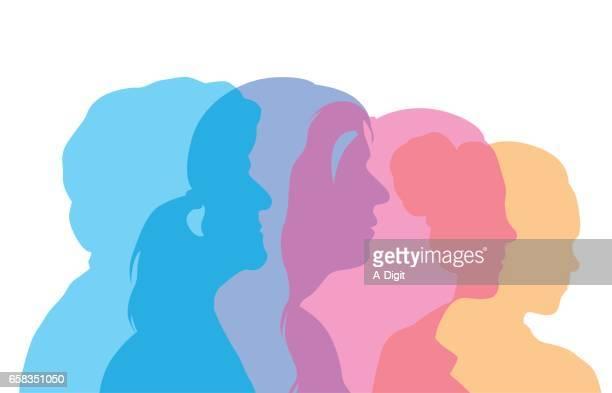 Mujer del envejecimiento proceso perfil cabezas