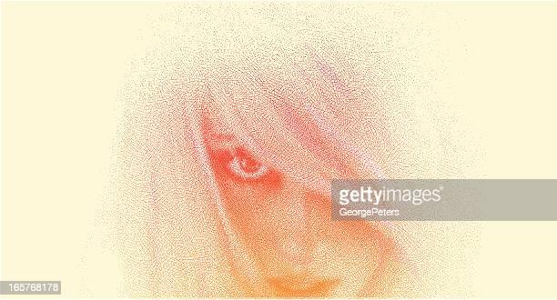 Frau Gesicht Close-Up-Stich