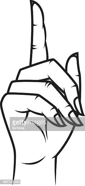 Woman's Hand Pointing Retro Line Art