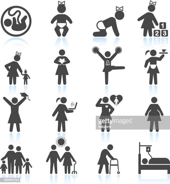 Frauen Leben von der Kindheit für Erwachsene und ältere Menschen-icon-set