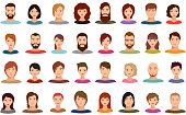 Women and men business people team vector avatars male and female profile portraits isolated. Face female and person and male businessman illustration