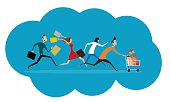 Women and men hurry run to sale. Flat commercial concept of promotion and discount. Vector