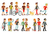 Women and men in various lifestyles. Cartoon characters vector set. Character people walk, illustration of man and woman walking