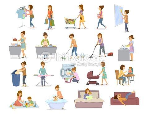 Las Mujeres Son Haciendo Las Tareas Domesticas Preparacion De - Hornos-de-hierro-a-lea