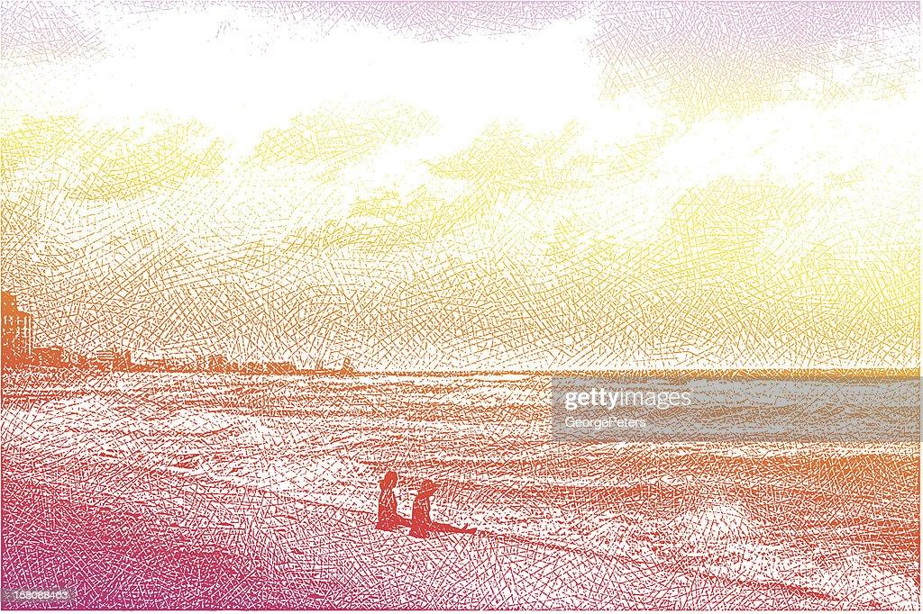 Women, Beach and Sunset : Vector Art