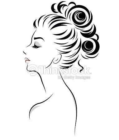 Women Bun Hair Style Icon Logo Women Stock Vector Thinkstock