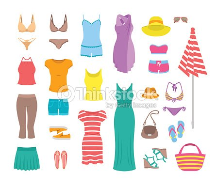 a26cb4ccc0 Women Casual Summer Clothes And Accessories Flat Icons Vector Art ...