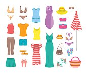 Summer female outfit flat vector icons. Women clothes and accessories collection for summer vacation. Casual fashion infographic elements. Basic tops, skirt, shorts, shoes, dresses, beach clothing