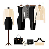 Women Clothing store interior with business clothes in flat style isolated on white. Women's fashion shop. Vector illustration.