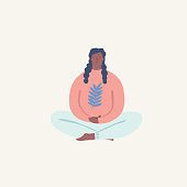 Women doing yoga and meditating visiting in a lotus pose illustration in vector.