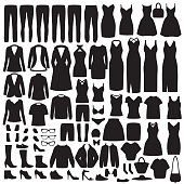 vector illustration of  set women fashion clothes silhouette, dress, shirt, shoes, jeans, jacket collection