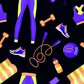 Women fitness equipment seamless pattern design vector illustration for surface design