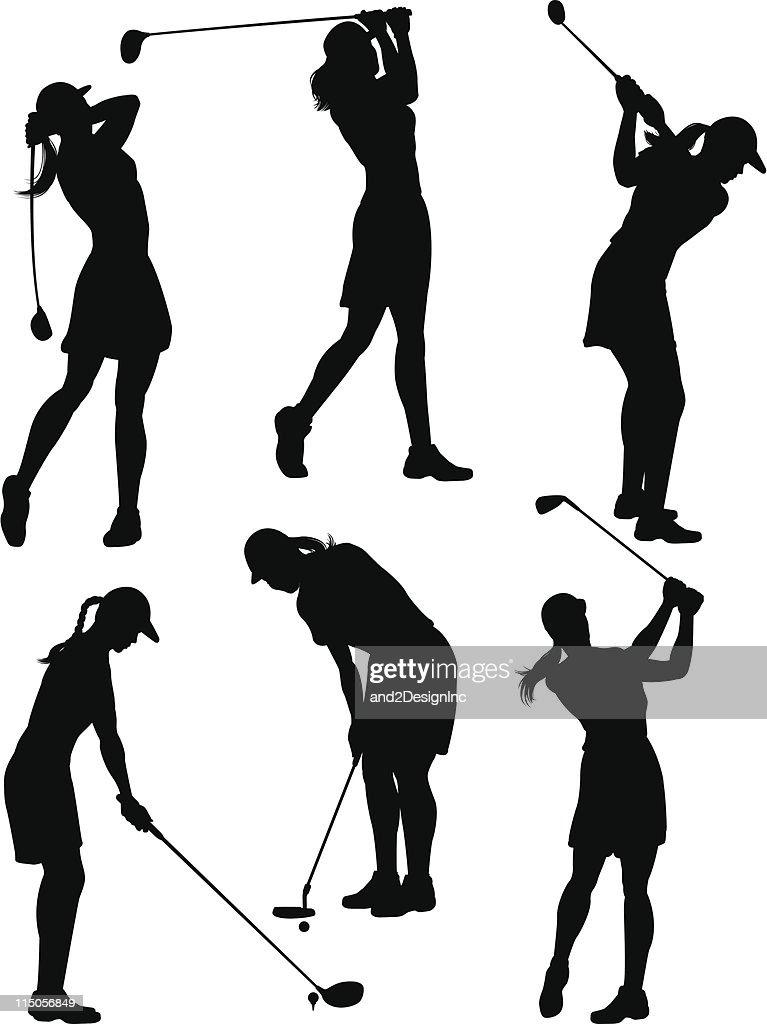 women golfer silhouettes vector art