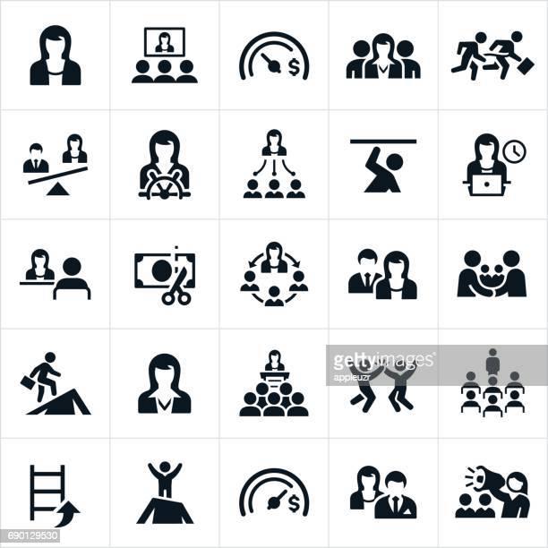Vrouwen In pictogrammen bedrijfs van de