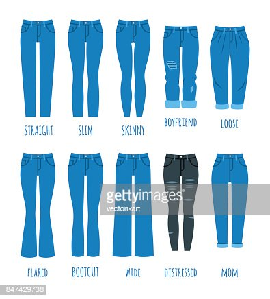 Women jeans styles collection : stock vector