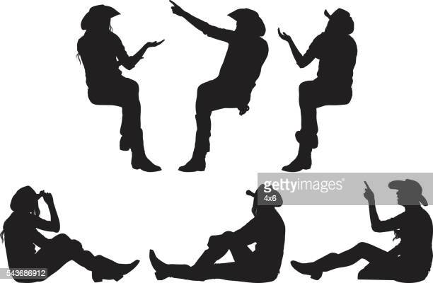Women sitting and in various actions