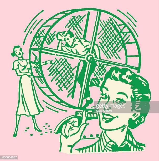 Women Working Men on Hamster Wheel