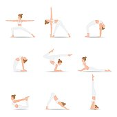 Women Yoga poses isolated on white background, Relax and meditate, Healthy lifestyle, Balance training , vector illustration.