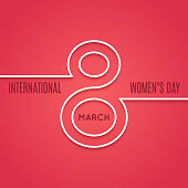 womens day 8 march line concept on red background 10 eps