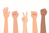 Women's hands with painted nails. Symbol of women's protest of different nations. Clenched fist, stop gesture, victory sign. Vector illustration EPS-8.