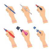 Women's hands with writing tools and office supplies set. Flat illustration of human female hands with pen, pencil, highlighter and over stationery. Vector isolated on white background design element.