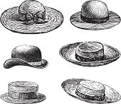 Vector drawing of a collection of various woman's hats.