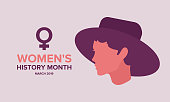 Women's History Month. The annual month that highlights the contributions of women to events in history. Celebrated during March in the United States, United Kingdom, and Australia. Vector poster