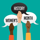 Women's history month design with multicultural hands holding speech bubbles. EPS 10