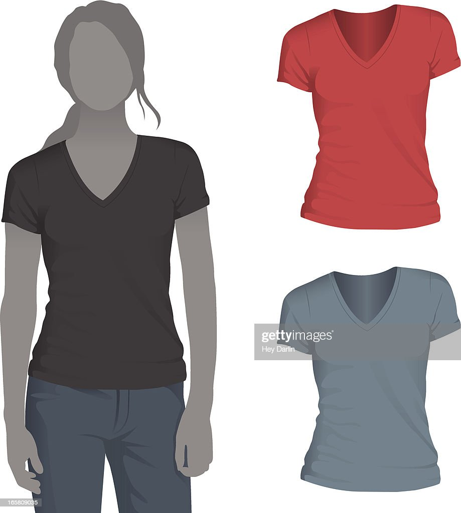 Womens vneck tshirt mockup template vector art getty images for T shirt mockup vector free