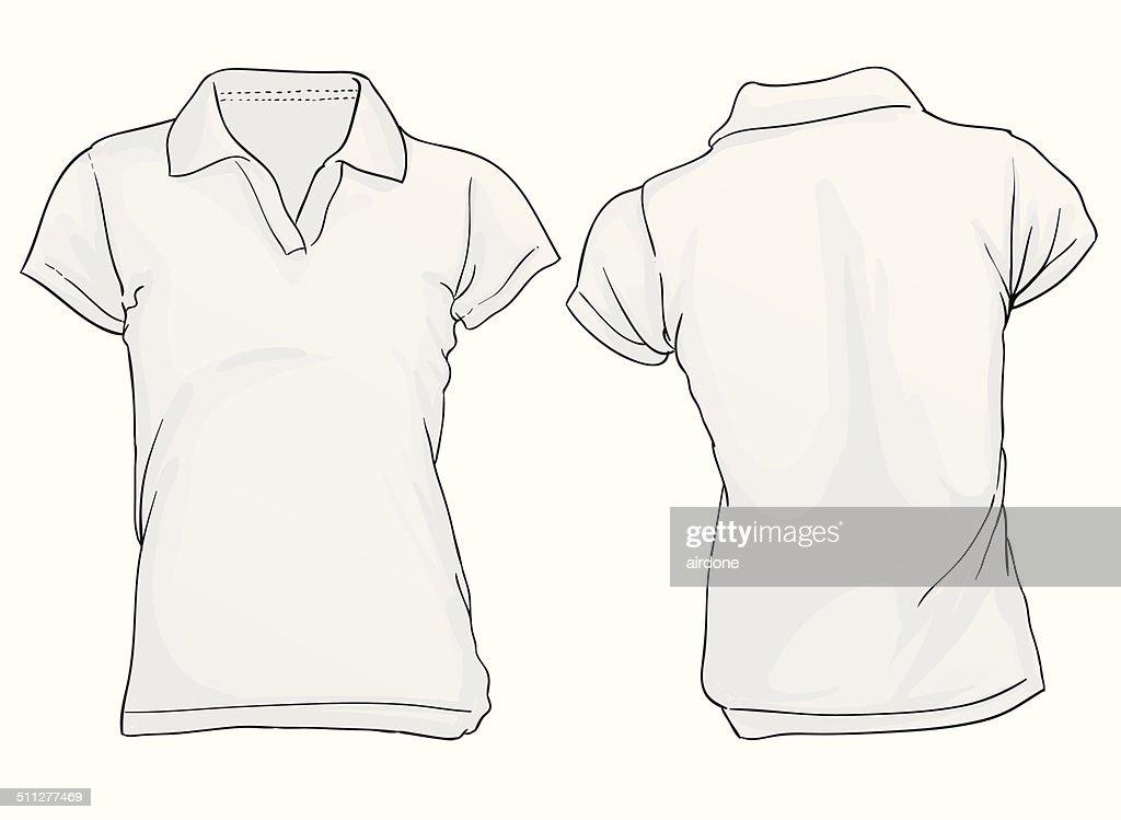 Damen Poloshirt Vorlage Weiß Vektorgrafik | Getty Images