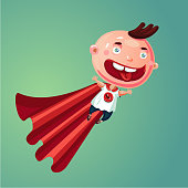 Wonder baby. Super boy. Funny little child in super hero suit. Humor cartoon illustration. Vector character.