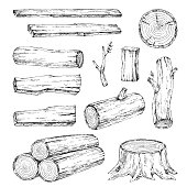 Wood, burning materials. Vector sketch illustration collection. Materials for wood industry.