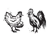 Wood cut hen and rooster farm chickens