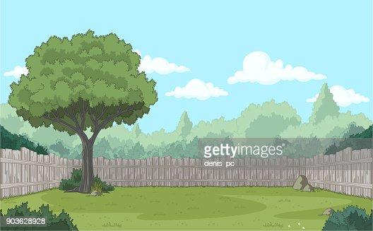 Wood fence on the backyard. : stock vector