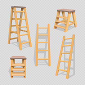 Wood household steps set on transparent background. Wood stepladder and wooden ladder, vector illustration