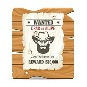 Cartoon wood sign board with paper wanted poster vector illustration