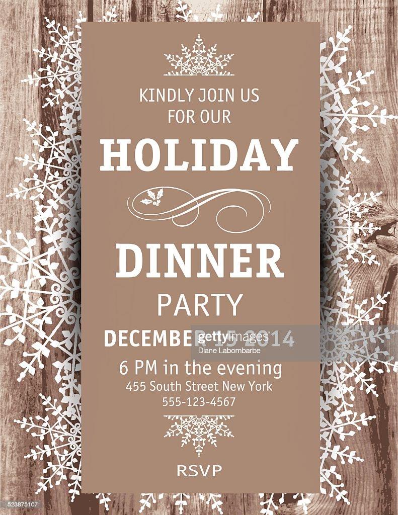 christmas dinner invitation template invitation template wood snowflake christmas dinner invitation template vector art getty
