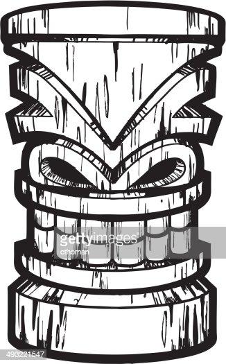 Wooden Tiki Head Drawing Wood Tiki Vector Art |...