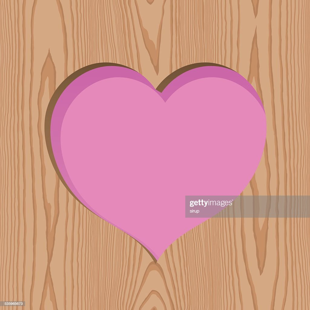 wood with heart hole pattern background : Vector Art