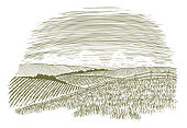 Woodcut illustration of a rural countryside scene with fields of crops in the background.
