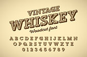 Woodcut style vintage font vector illustration