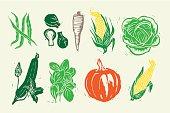 Woodcut Vegetables