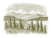Woodcut illustration of a wilderness scene with a stream and mountains in the background.