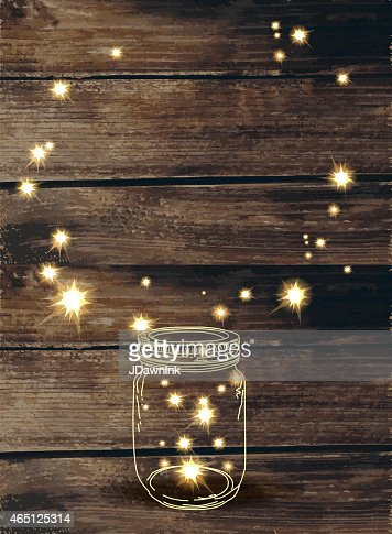 Wooden Background With Canning Jar And Pink Sparkles